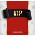 VIP background with realistic black curved ribbon vector image