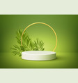 white product podium with green tropical palm vector image vector image