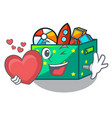with heart kids toys in the cartoon box vector image