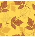yellow seamless background with leaves-01 vector image vector image