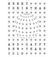 retro bw merry christmas and happy new year vector image