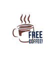 vintage hand drawn coffee cup stamp grunge retro vector image