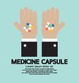 Medicine Capsule In Hand vector image