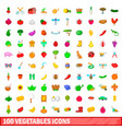 100 vegetables icons set cartoon style vector image vector image