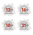 12 16 18 21 plus icon in comic style censorship vector image vector image