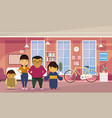 asian family parents with two kids at home living vector image