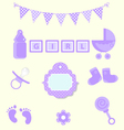 Baby girl set of design element for scrapbook and vector image vector image