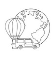 balloon air hot flying with car and world planet vector image