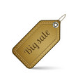Big sale label with brown leather texture vector image