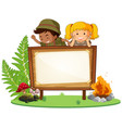 boy and girl scout banner vector image vector image