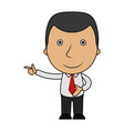 cartoon happy businessman pointing his finger vector image vector image