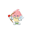 charming picture strawberry cupcake cupid mascot