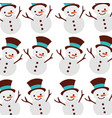 christmas snowman cartoon smile seamless pattern vector image