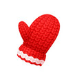 chunky knitted glove in red and white color vector image vector image
