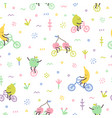 cute fruits on bicycles vector image vector image