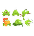 cute green frog cartoon character different vector image
