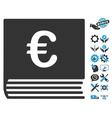 Euro Sales Book Flat Icon With Tools Bonus vector image vector image