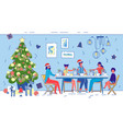 family christmas or new year joint dinner at home vector image