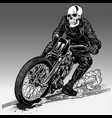 fast riding motorcycle chopper vintage vector image vector image