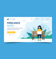 freelance work page template woman working with vector image vector image