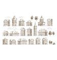 hand drawn historic buildings set vintage sketch vector image vector image