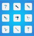 handtools icons colored set with drill clamp vector image vector image