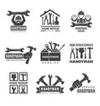 handyman logo worker with equipment servicing vector image vector image