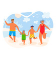happy family on summer vacation characters vector image vector image