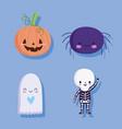 happy halloween spider ghost pumpkin and skeleton vector image vector image