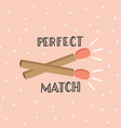 happy valentines day card with matches vector image vector image