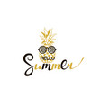 hello summer lettering with pineapple vector image