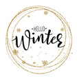 hello winter poster template vector image