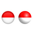 indonesia flag under 3d dome button and on glossy vector image vector image