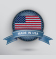 jeans circle badge with usa flag vector image vector image