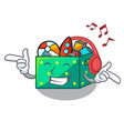 listening music kids toys in the cartoon box vector image