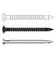 long metal screw black and white icons and 3d vector image
