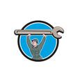 Mechanic Lifting Spanner Wrench Circle Cartoon vector image vector image