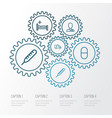 medicine outline icons set collection of vitamin vector image