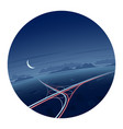 night traffic and roads round icon vector image vector image