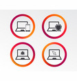 notebook laptop pc icons virus or software bug vector image