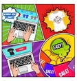 Online Shopping Comics Composition vector image vector image