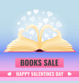 open book with page decorate into a two hearts vector image vector image
