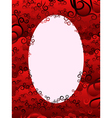Oval frame with floral elements in red hues vector image