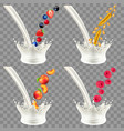 pouring milk splash with fruits and cereals 3d vector image vector image
