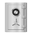 realistic steel safe on white background vector image vector image