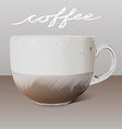 Realistic transparent glass cup of cappuccino and vector image
