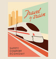 retro style poster travel train to create vector image