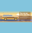 road trip poster with car on beautiful sunset vector image