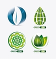 set of green leves design nature icon White vector image