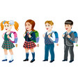 set of student vector image vector image